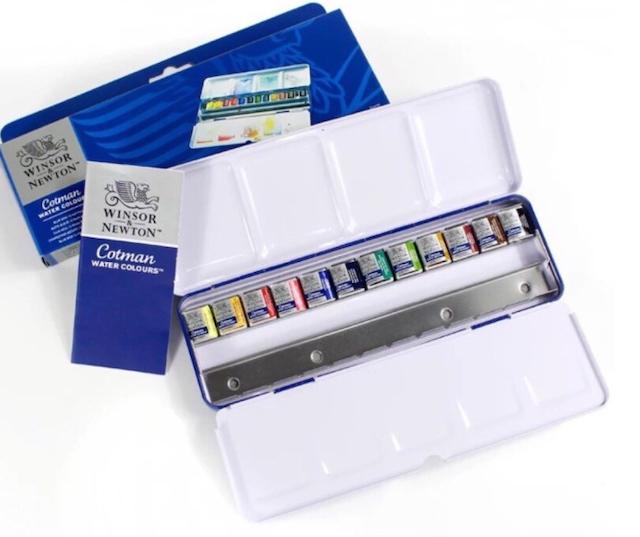 Winsor & Newton  Cotman 12色鐵盒塊狀水彩   1