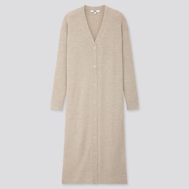 Uniqlo 美麗諾混紡 羅紋開襟外套(長袖) 1