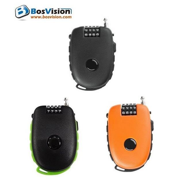 BosVision博士威 多功用4字輪伸縮式鋼索密碼鎖 1