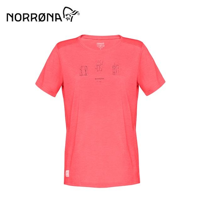 NORRONA svalbard wool 短袖排汗衣 女 寶石紅 1