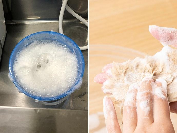 ②起泡性/泡沫沖洗難易度