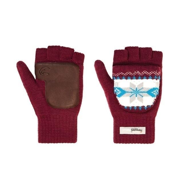 ADISI 美麗諾羊毛露指翻蓋保暖手套 1
