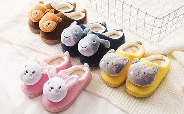 保暖兒童大頭動物半包室內拖鞋 1