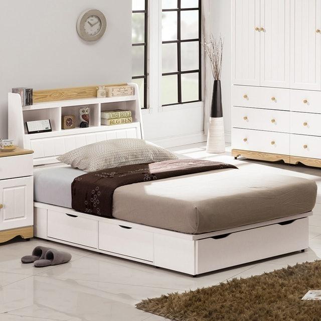 H&D 東稻家居 白色3.5尺五抽床底 1
