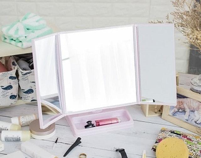 三面式可折疊旋轉桌上化妝鏡 1