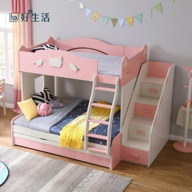 hoi! 林氏木業童趣貓咪兒童5尺雙層子母床組 1