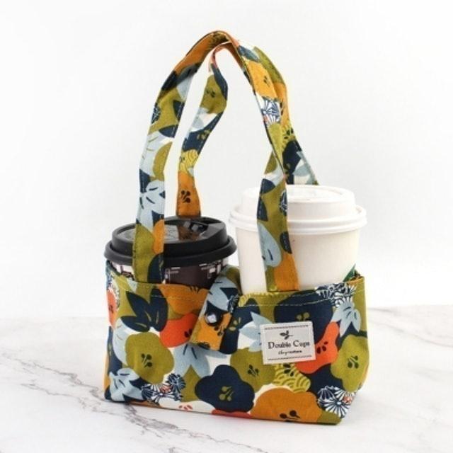 珠友 台灣花布雙杯款咖啡杯提袋 1