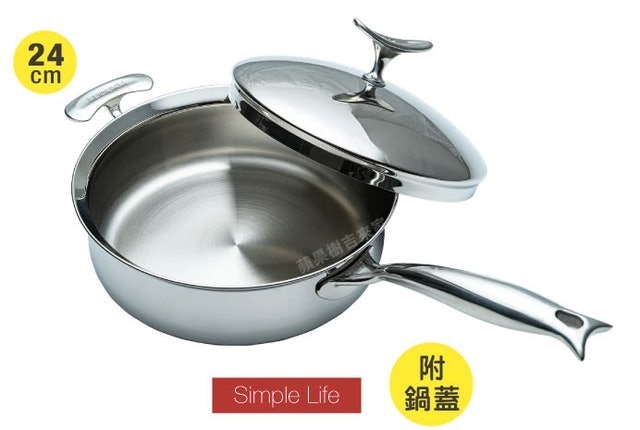吉來家  瑞士鏡面鯨魚不鏽鋼單柄平底鍋 1