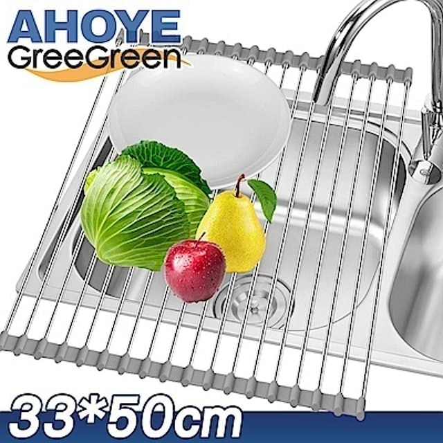 GREEGREEN  加大捲簾式碗盤瀝水架 1