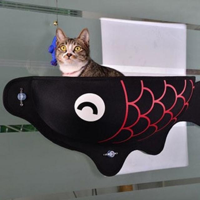 日本原創魚形吸附掛式貓吊床 1