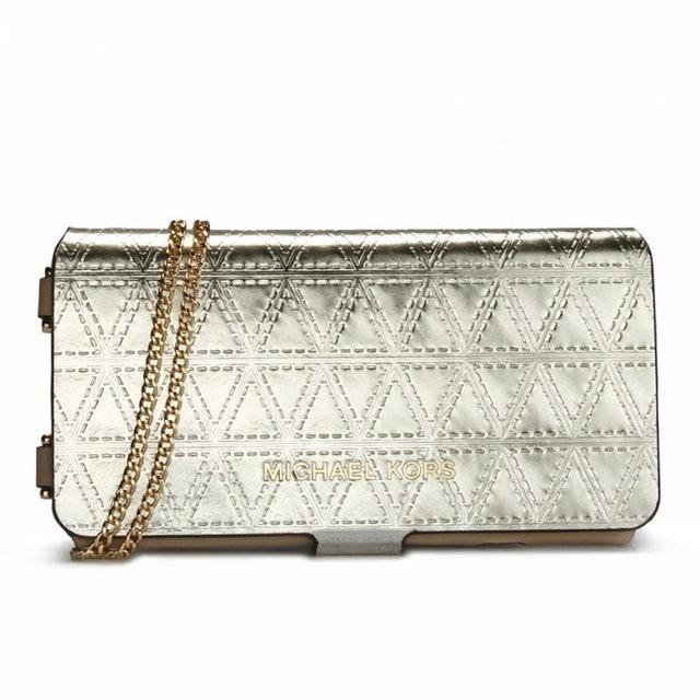 MICHAEL KORS  幾何壓紋金屬皮革手機袋 1