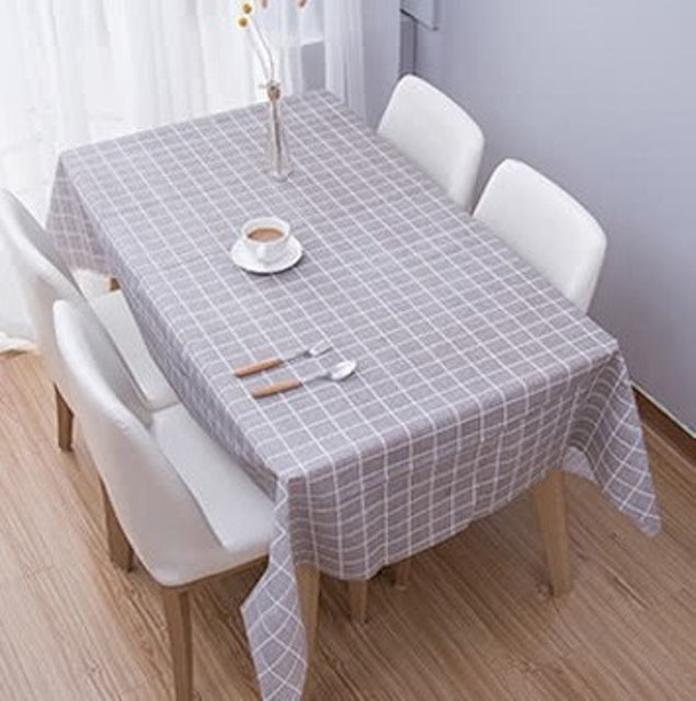 KARY 北歐風極簡格紋PVC防水耐髒耐磨桌巾 1