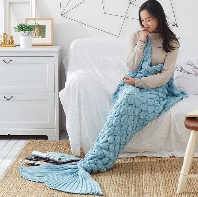 ins 魚鱗美人魚尾毛毯 1