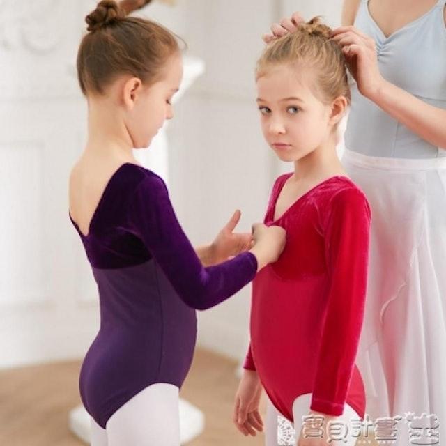 棉絨雙拼長袖兒童芭蕾舞衣 1