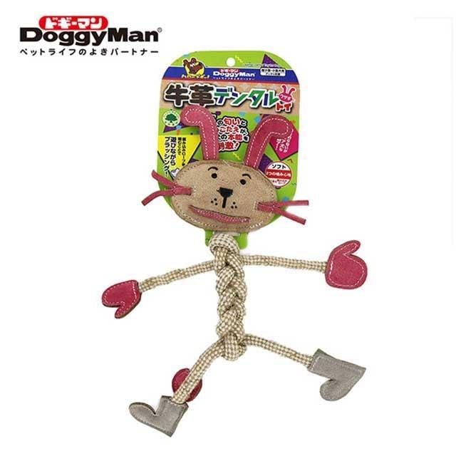 DoggyMan  犬用牛革潔牙繩結玩具 兔子 1