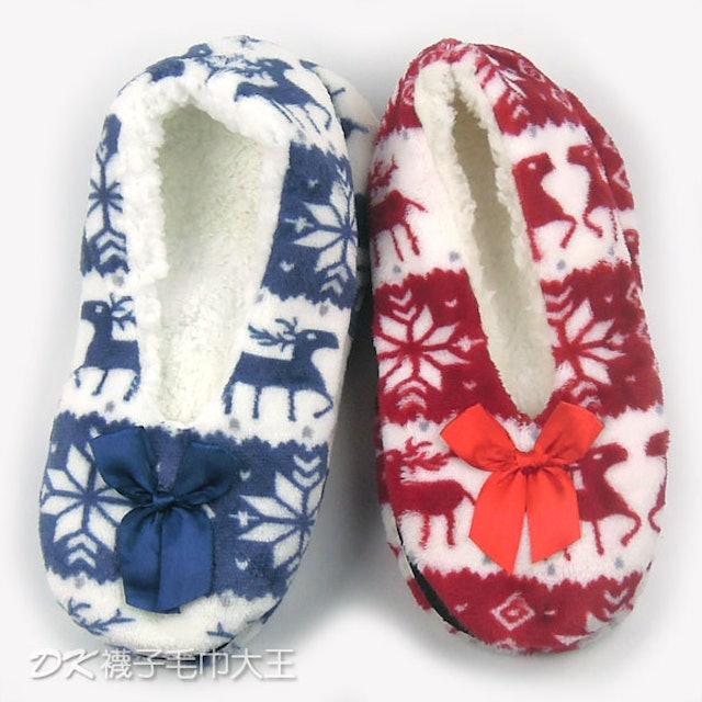 珊瑚絨雪花麋鹿防滑室內鞋 1