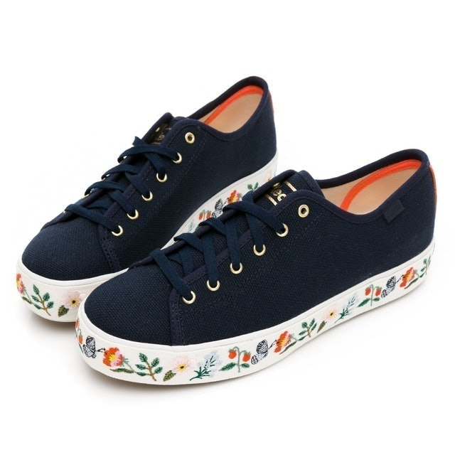 Keds TRIPLE KICK 草莓花卉厚底帆布鞋 1