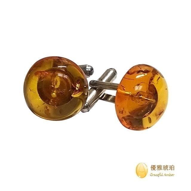 優雅琥珀 來自波羅的海 半圓形金棕珀袖扣 1