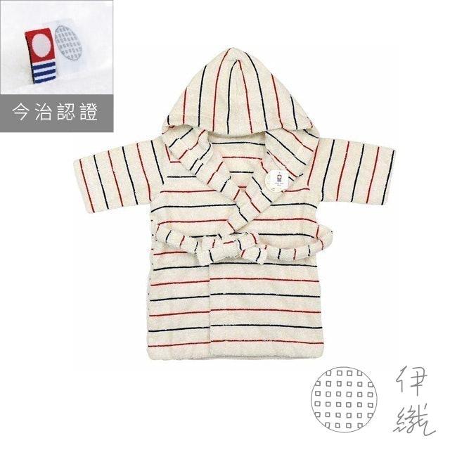 伊織 法式條紋系列 有機棉嬰兒浴袍 1