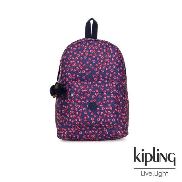 Kipling  古典茜紅小花方形後背包 1