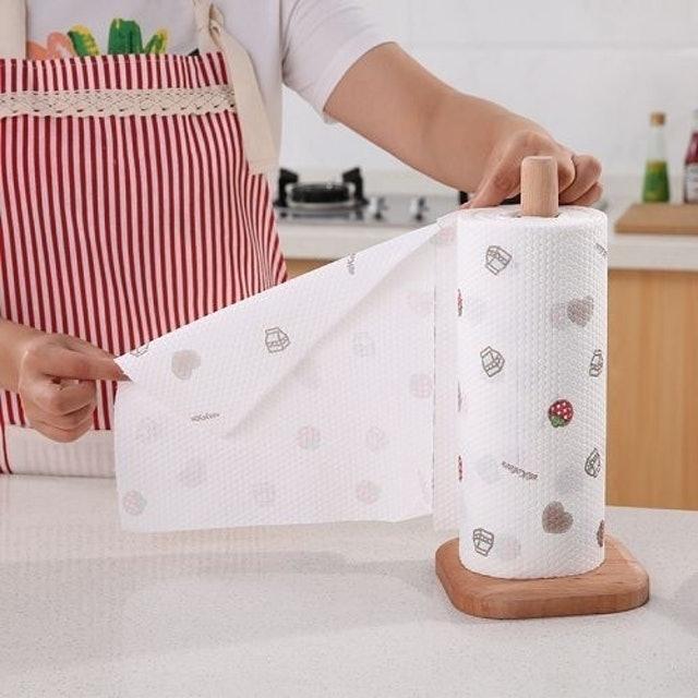 櫸木立式廚房紙巾架 1