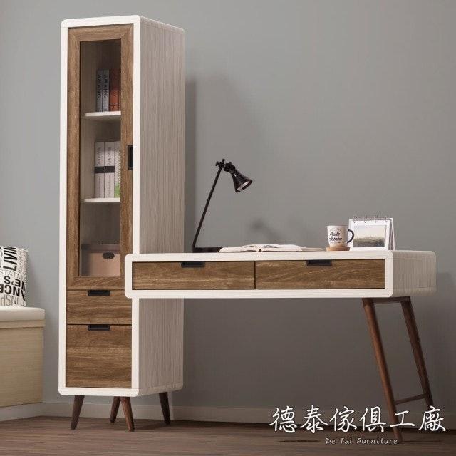德泰傢俱 Miduo北歐胡桃木5.3尺L型書桌 1