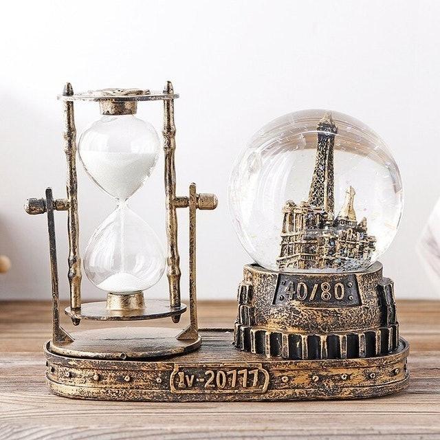 復古沙漏計時器 雪花水晶球音樂盒 1