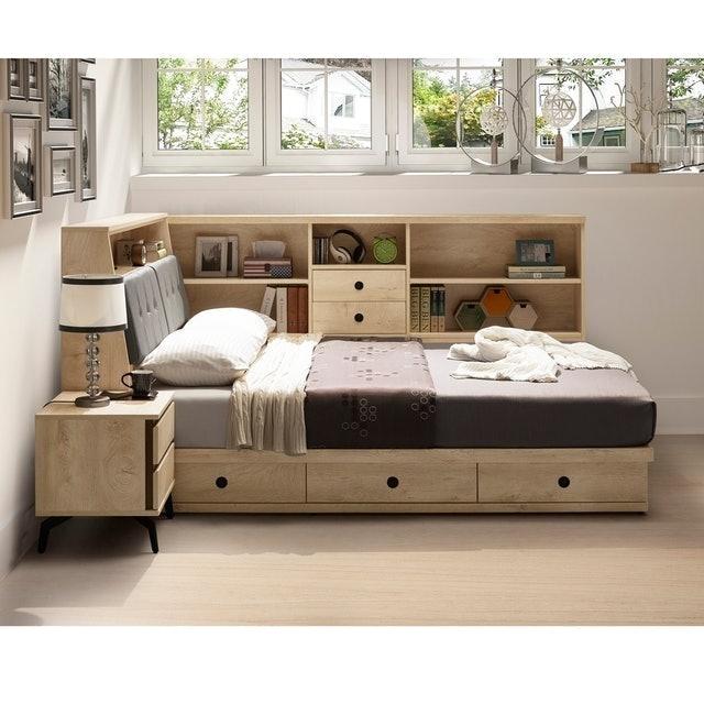 直人木業 KELLY白橡木6尺雙人加大 三個抽屜床底加床邊收納櫃 1