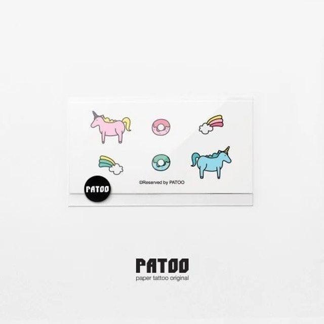 PATOO ulzzang 獨角獸紋身貼紙 1