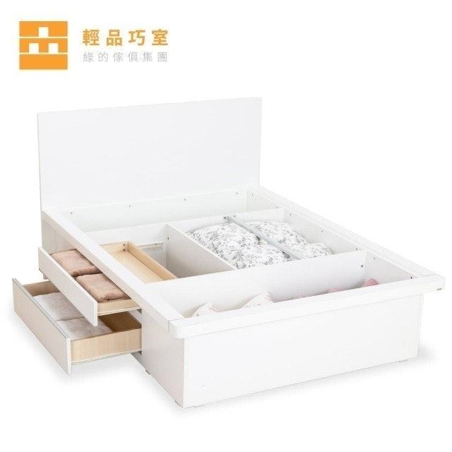 輕品巧室 沁白雙人抽屜機能收納床架 1