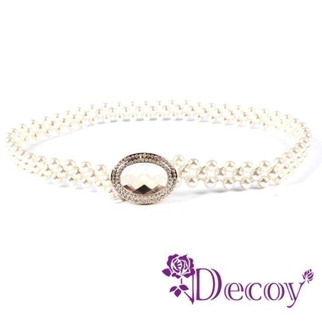 Decoy 蛋型水晶彈性編織珍珠腰封 1