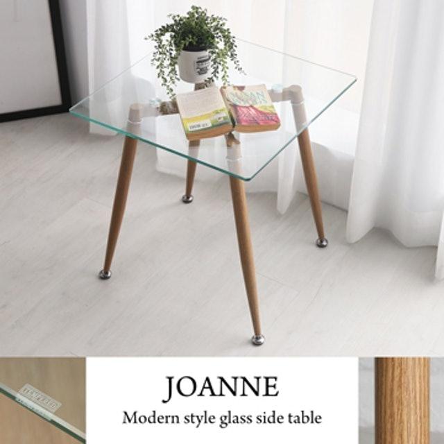 H&D 喬安現代風簡約玻璃邊桌 1
