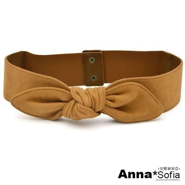 AnnaSofia 訂製款麂皮絨中央綁結彈性寬腰帶腰封 1
