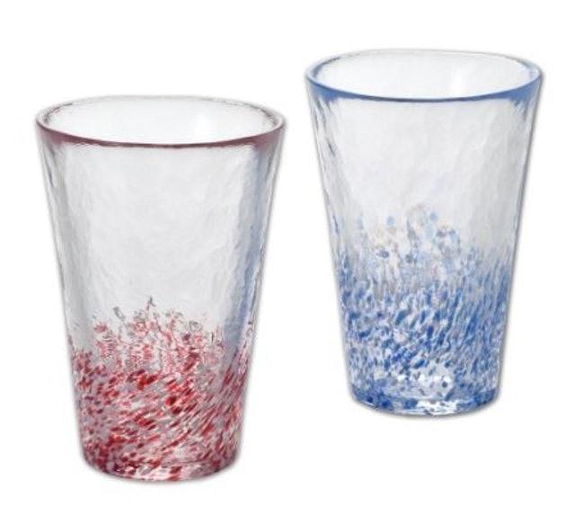 ADERIA 津輕系列長型紅藍玻璃對杯組 1